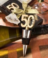 50th Wine Bottle Stopper With Diamantes